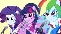 Twilight, Rarity, and Rainbow singing EG2