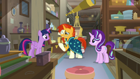 Twilight, Sunburst, and Starlight in the antique shop S7E24