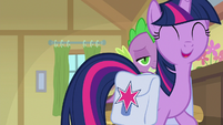 Twilight walking up to Dusty Pages S9E5