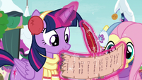 Twilight writing on the back of her list MLPBGE