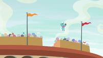 Buckball Pegasus flies up to catch the ball S9E6