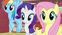 Dash, Rarity, and Fluttershy listening to AJ BGES3