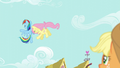 Fluttershy and Rainbow bump into each other in the air S6E11.png