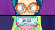 Indigo Zap and Lemon Zest wearing goggles EG3