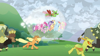 Mane Six's bubble shield floats upward S9E25