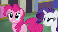 Pinkie Pie excited; Rarity uncertain S6E12