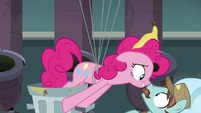Pinkie Pie gets in the Janitor Pony's face S7E23