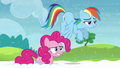 Pinkie and Rainbow look back at yaks S5E11.png
