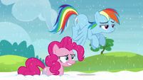 Pinkie and Rainbow look back at yaks S5E11