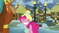 Pinkie grinning happily at Rutherford MLPBGE