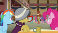 Rainbow, Pinkie, and A. K. listen to Caballeron S7E18.png