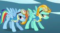 Rainbow Dash and Lightning Dust getting ready to take off S3E7