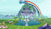 Rainbow Dash zooming over the school S8 opening