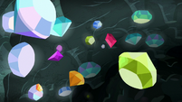 Rarity's collected gems fly through the air S8E17