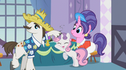 Rarity's father tousling Sweetie Belle's mane S2E5