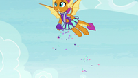 Smolder dropping confetti from the sky S9E15