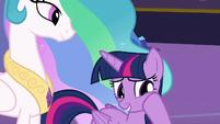 Twilight Sparkle rubbing her sore cheeks S7E1
