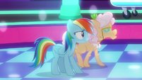 Apple Rose dancing past Rainbow Dash S8E5