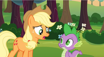 Applejack talking to Spike S3E9