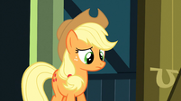 Applejack watching Apple Bloom run off S3E4