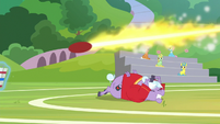 Buckball rockets over Big Bell's head S8E17