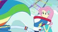 Fluttershy watches Rainbow fall over EGROF