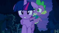 Frontal shot of Twilight running with Spike on her back S5E26