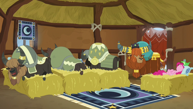 File:Pinkie Pie and yaks sleeping on beds of hay S7E11.png