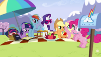Pinkie Pie bouncing near the other ponies S3E7