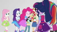 Pinkie Pie hugging Sunset Shimmer EGS3