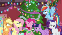 Pinkie Pie smiling; her friends exasperated BGES2