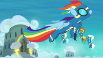 Rainbow Dash flying into the sky S8 opening