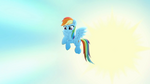 Rainbow Dash in the sky. Start screen saver Rainbow Roadtrip