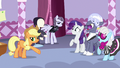 Rarity, Hoity, and Photo Finish surprised by AJ's criticisms S7E9.png