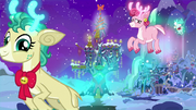 Reindeer flying over the castle and the School of Friendship MLPBGE