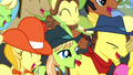 Spectator ponies laughing even harder S5E6.png