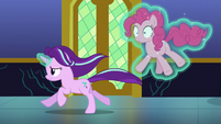 Starlight gallops through the hall with Pinkie S6E21