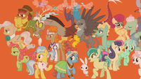 Supporting characters on orange background S9E26