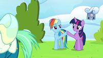Twilight Sparkle and Rainbow Dash high-hoof S6E24