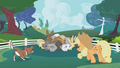 Applejack and Winona cornering rabbits S1E04.png