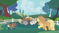 Applejack and Winona cornering rabbits S1E04