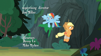 Applejack hopping into the cave S7E16