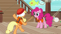 Applejack stumbles around dizzily S6E22