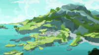 Bird's-eye view of Rockhoof's island S8E21