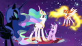 Celestia and Starlight trapped by Nightmare Moon and Daybreaker S7E10.png