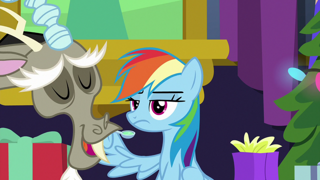 File:Discord bragging to Rainbow Dash MLPBGE.png