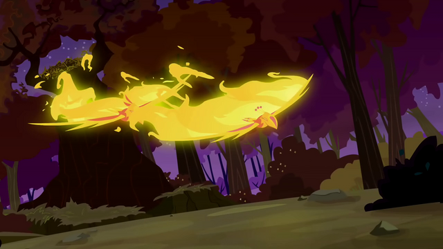 File:Flaming phoenixes chase after Spike S2E21.png