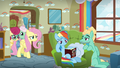 Fluttershy and her parents return from the next room S6E11.png