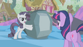 Grey Rarity defending rock from Twilight S2E2.png