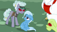 Jeweler Pony stands angrily over Trixie S7E2